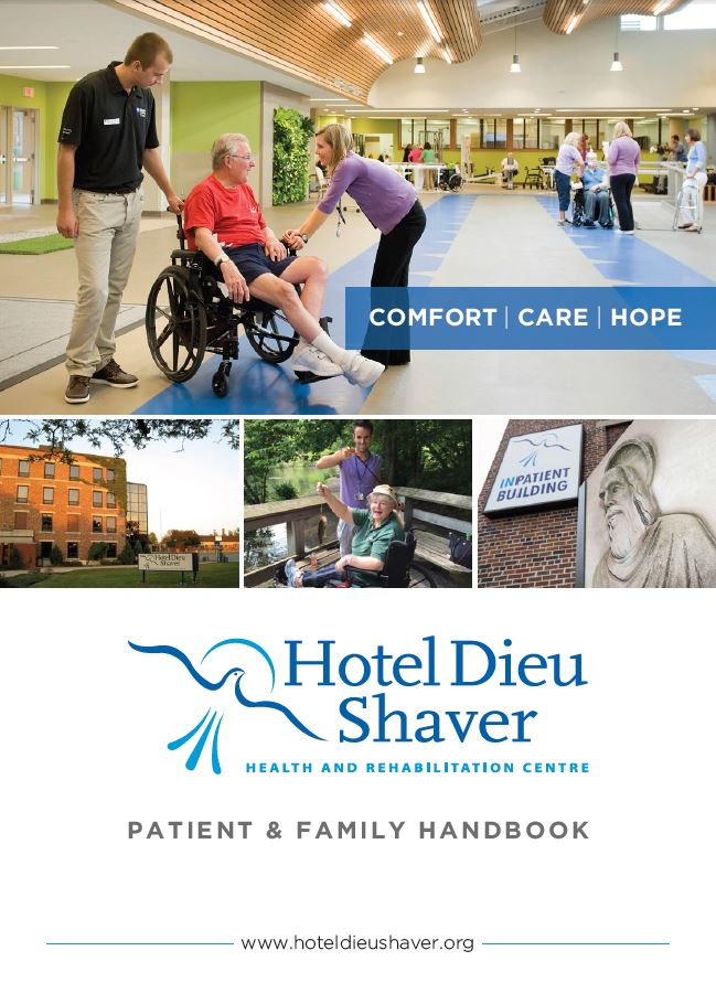 Patient & Family Handbook, Hotel Dieu Shaver, St. Catharines, Ontario
